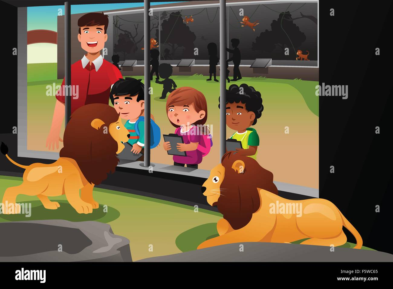 A Vector Illustration Of Kids On A School Field Trip To