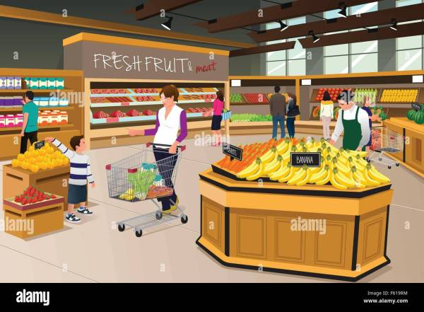 Vector Illustration Of Mother And Son Shopping In