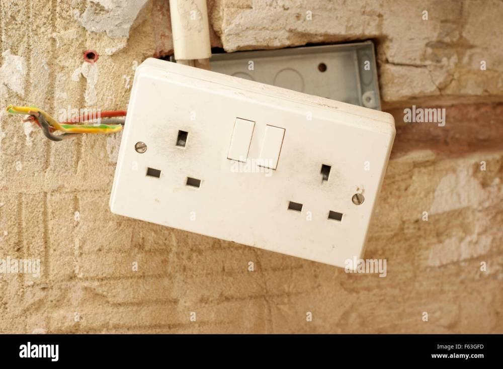 medium resolution of electric plug sockets with exposed wiring in a rented social housing property house that needs attending to