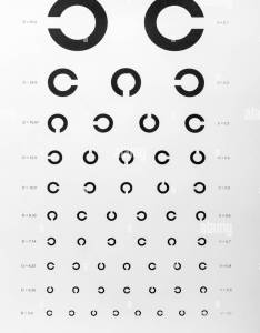 Eye examination chart used for visual acuity testing also stock photo rh alamy
