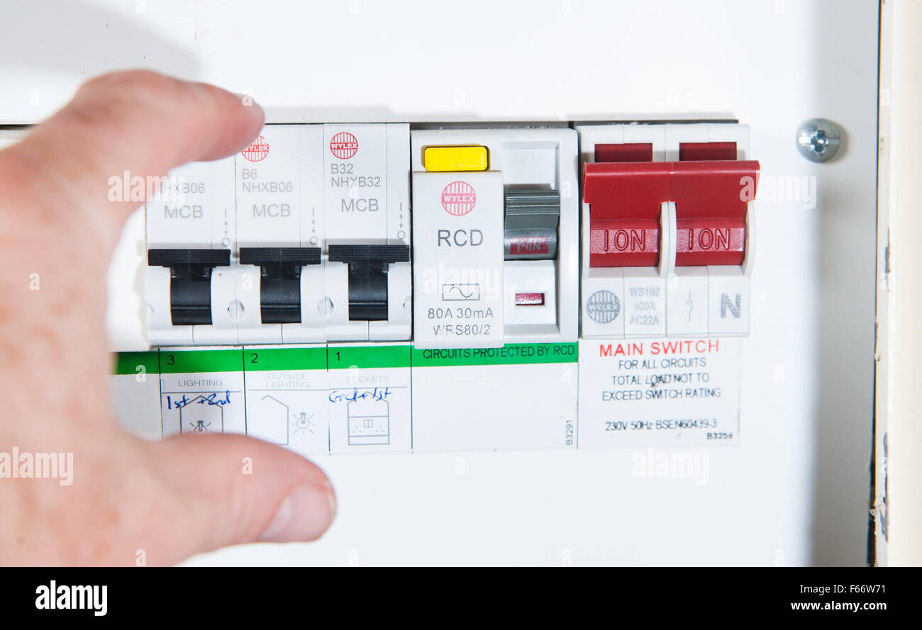 hight resolution of domestic home electrics main fuse box with switch being thrown stock image