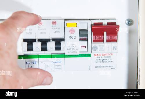 small resolution of domestic home electrics main fuse box with switch being thrown stock image