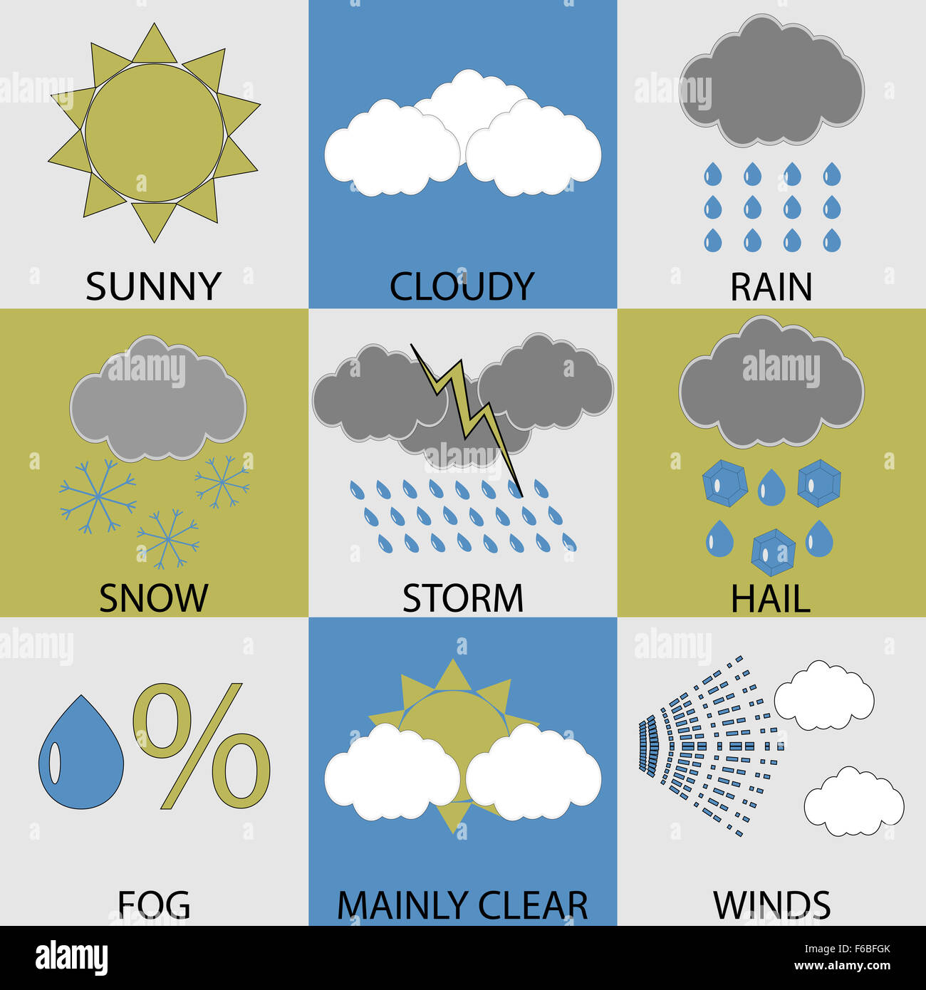 Weather Icon Set Modern Sunny And Cloudy Rain And Winds