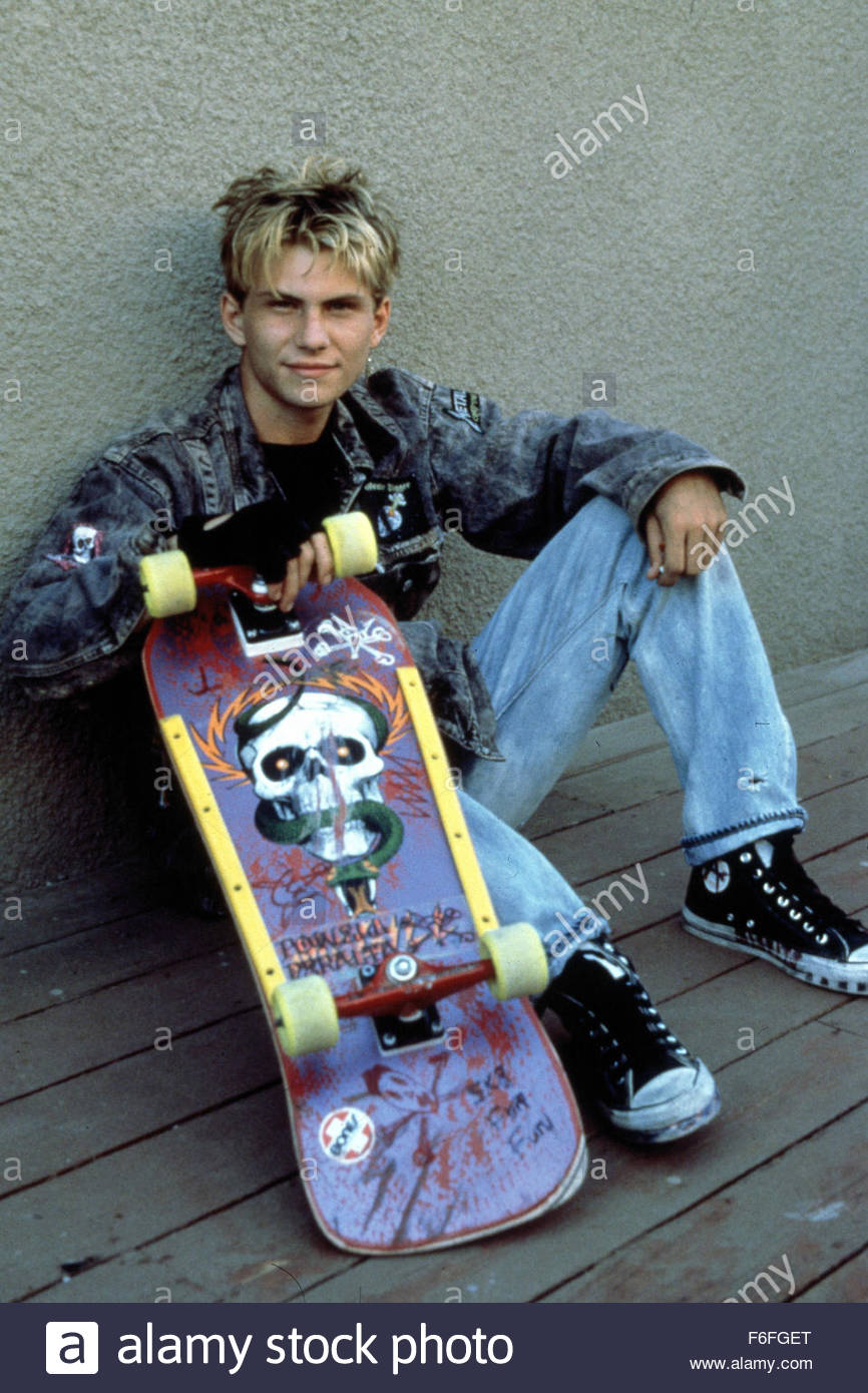 Christian Slater on the set of Gleaming The Cube in 1988