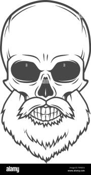 evil bearded jolly roger logo template