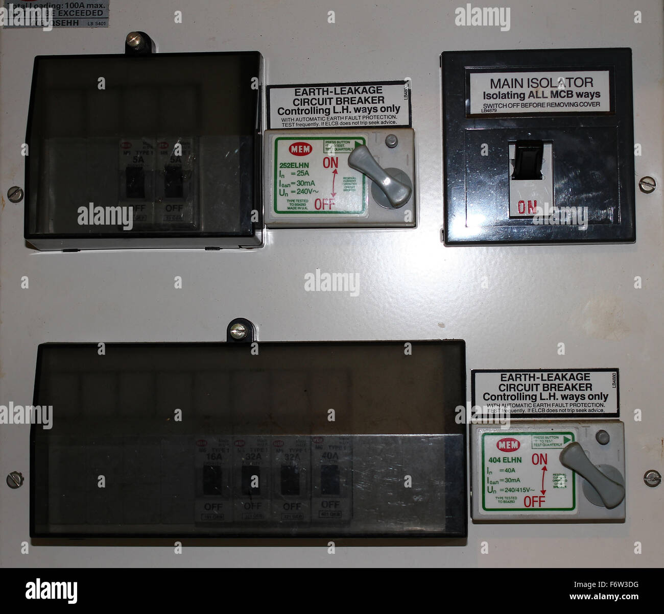 hight resolution of fuse box with trip switches stock image