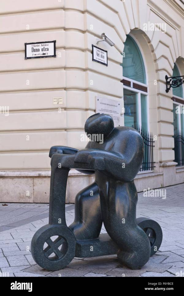 Man Bike Sculpture Street In Budapest Hungary Stock Royalty Free