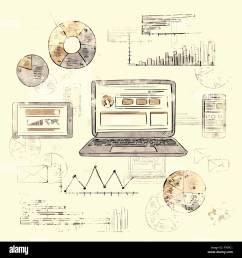 sketch laptop smart phone tablet finance chart old retro diagram [ 1300 x 1390 Pixel ]