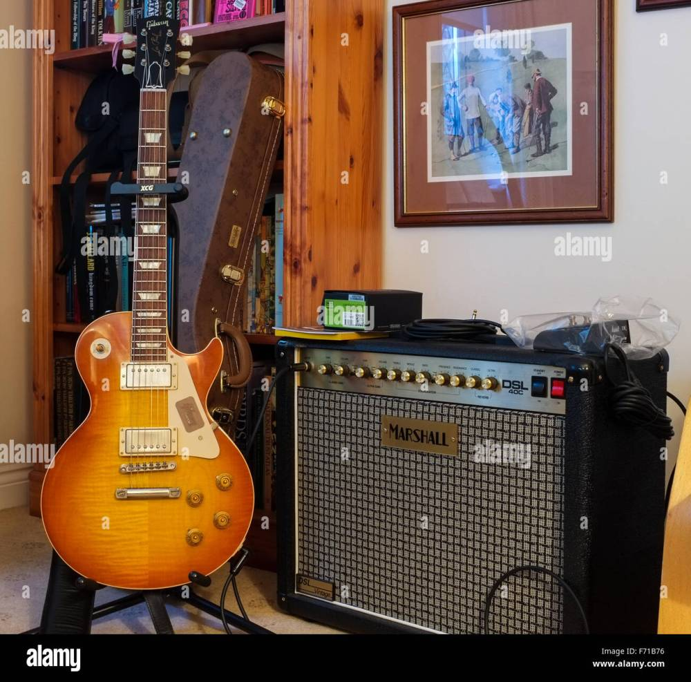 medium resolution of a 1958 gibson les paul guitar on it s stand next to a marshall tube