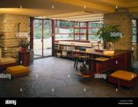 Interior view showing living room at Fallingwater or