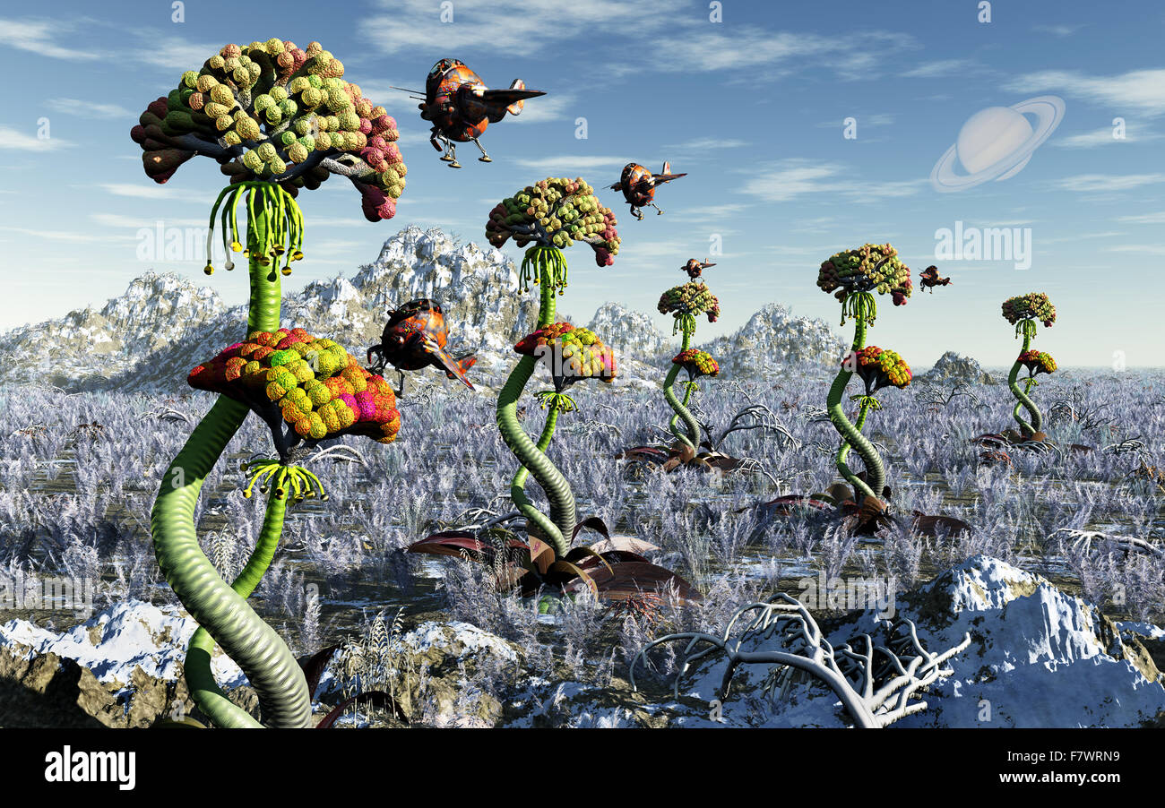 Harvesting Alien Plant Life On A Distant World Stock Photo