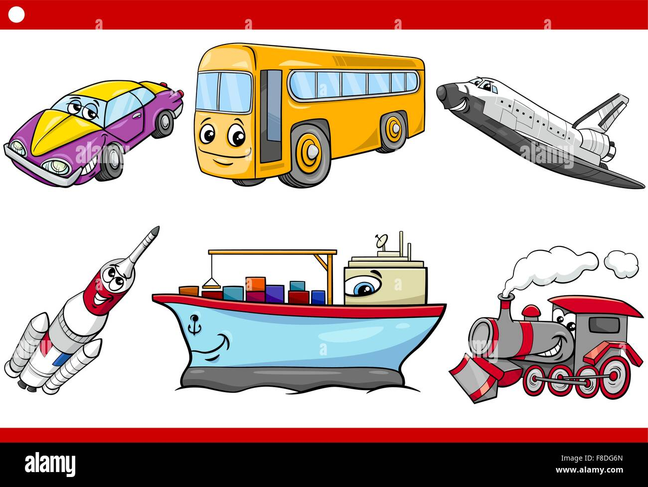 Cartoon Illustration Of Land And Air And Sea Vehicles