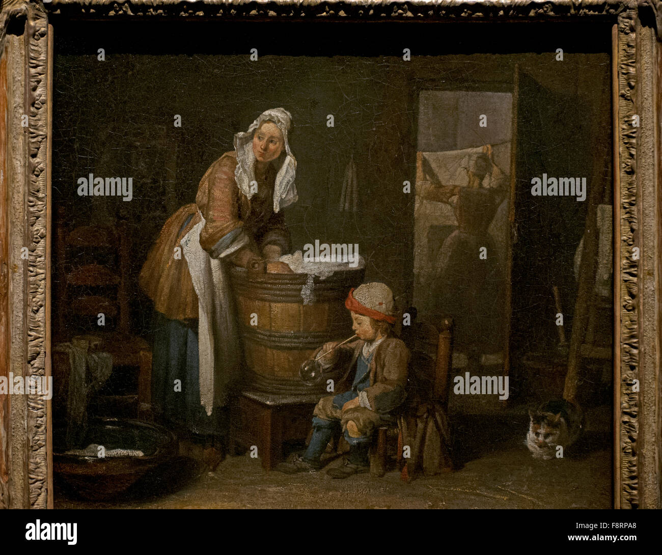 hanging chair cart upholstered with nailhead trim jean simeon chardin (1699-1779). french painter. the washerwoman stock photo: 91491520 - alamy