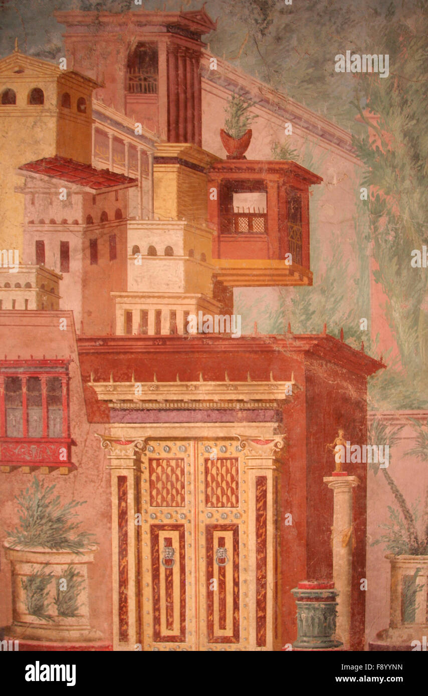 Ancient Roman Fresco Wall Painting With Architecture Theme Stock Photo Alamy