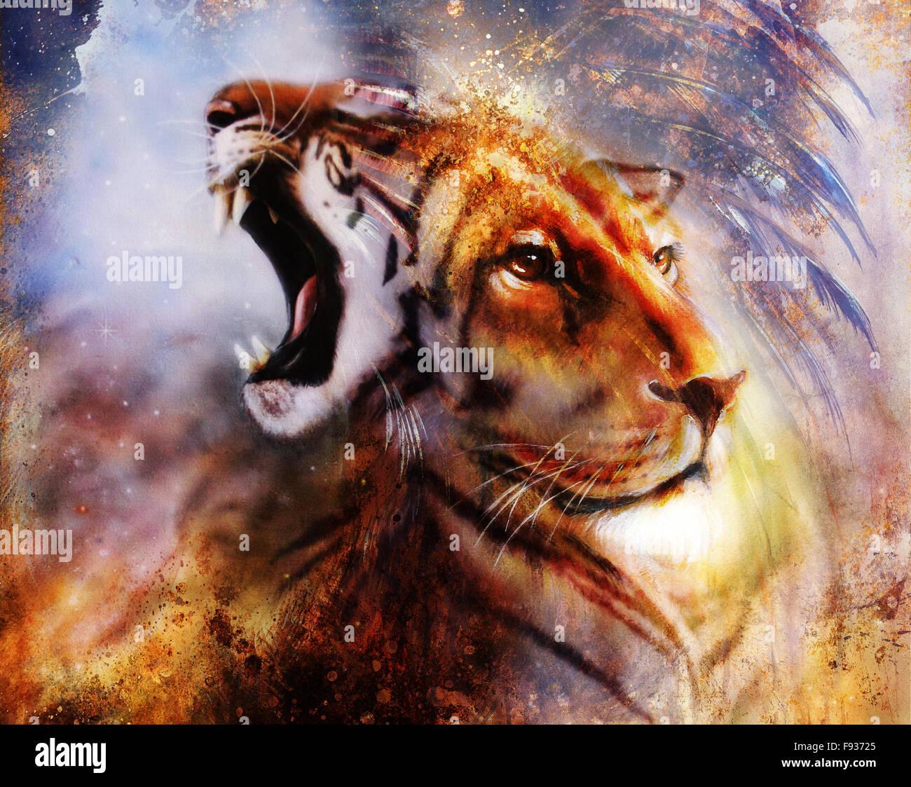 lion face profile portrait