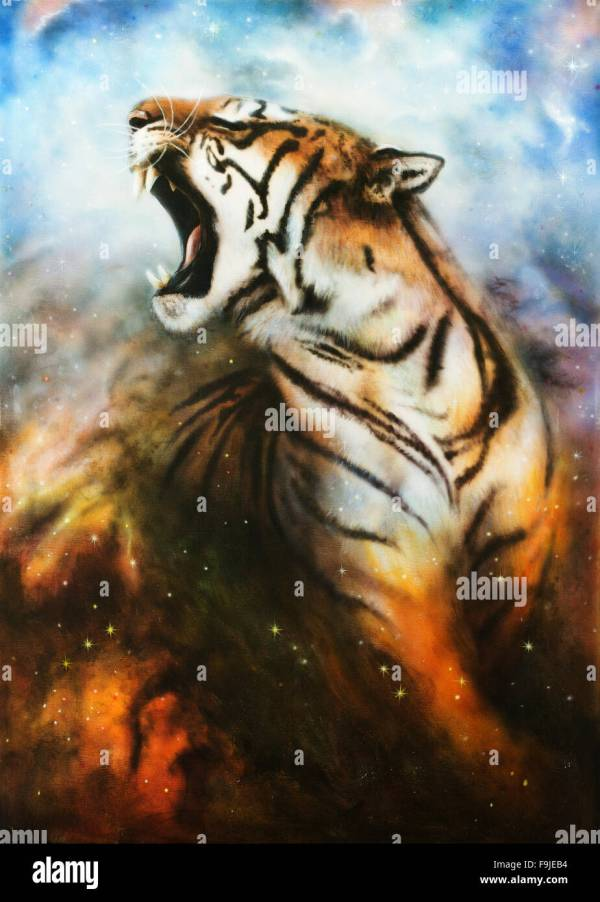 Beautiful Airbrush Painting Of Roaring Tiger