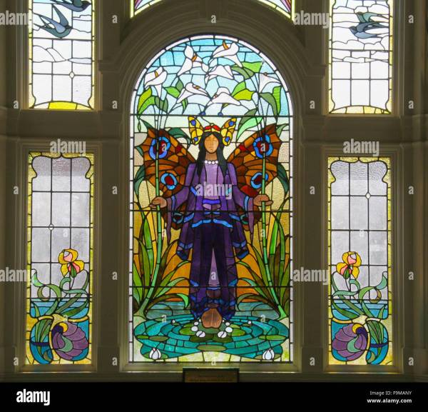 Angel Of Purity Window - Art Deco Stained Glass Victoria Baths In Stock 92031239 Alamy