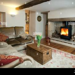 Living Room With Log Burner Ceiling Lighting Uk Cottage Sitting A Burning Stove Stock Photo 92151133
