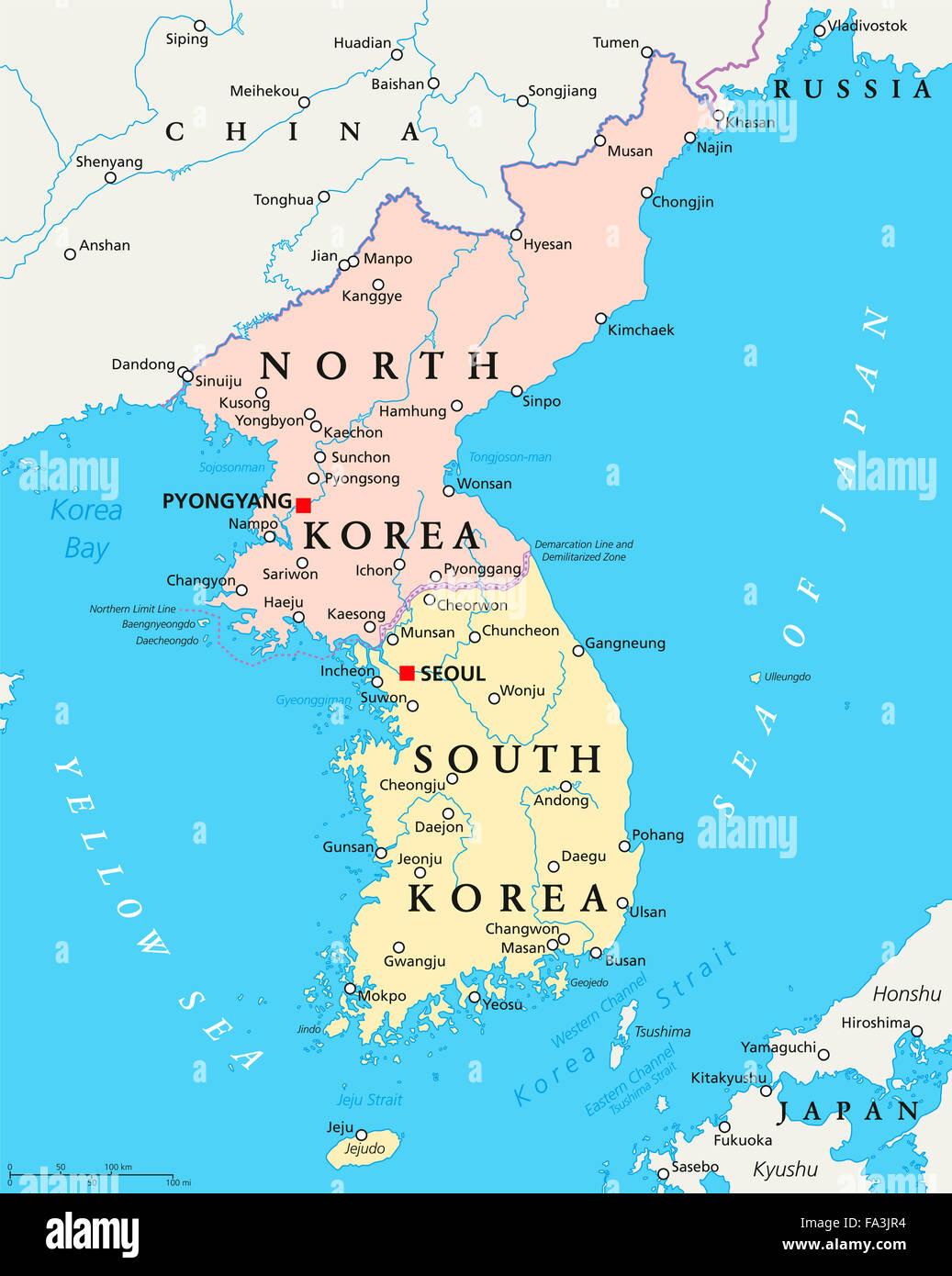 North Korea South Korea Political Map With Capitals