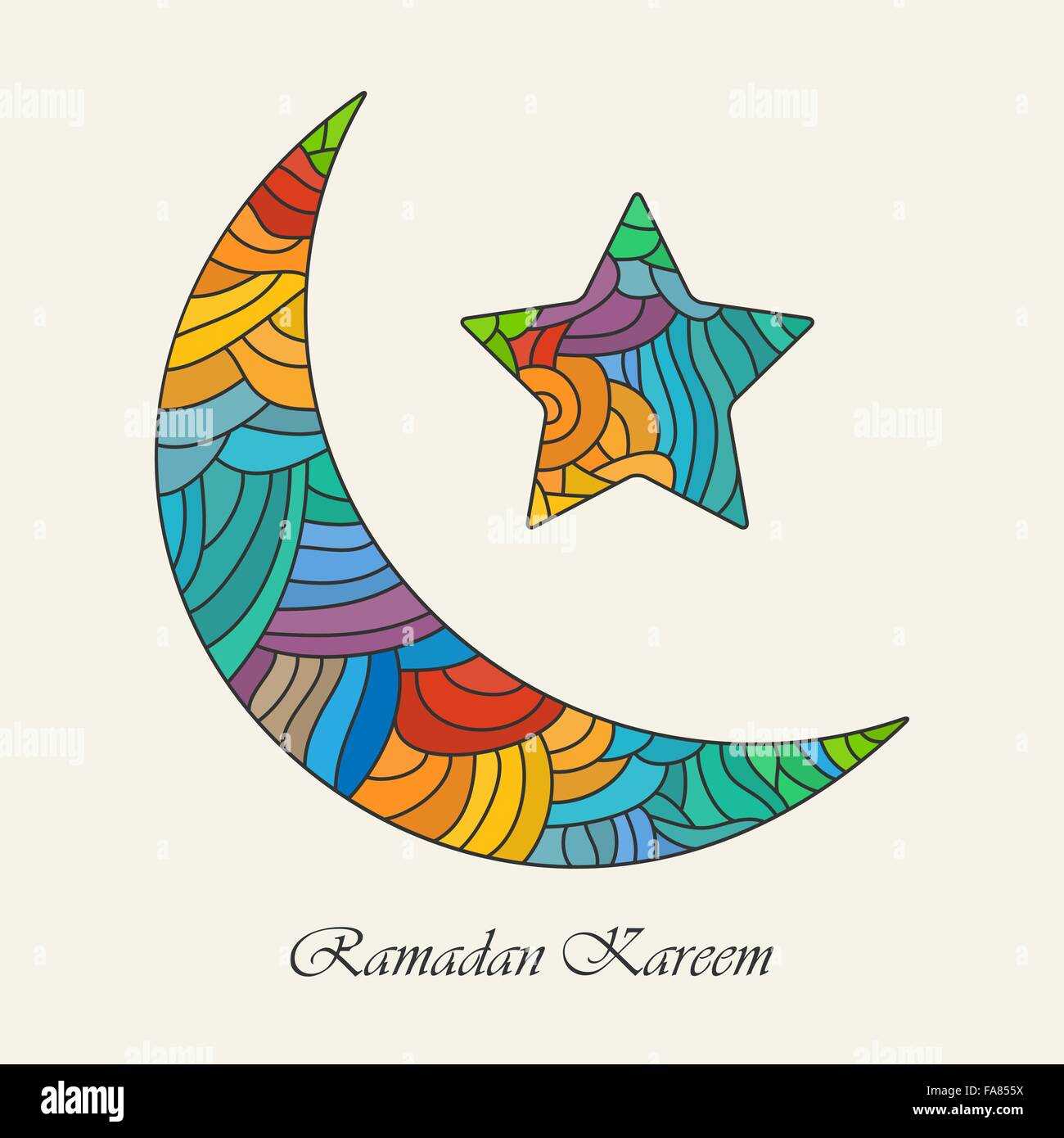 Crescent Moon And Star For Holy Month Of Muslim Community