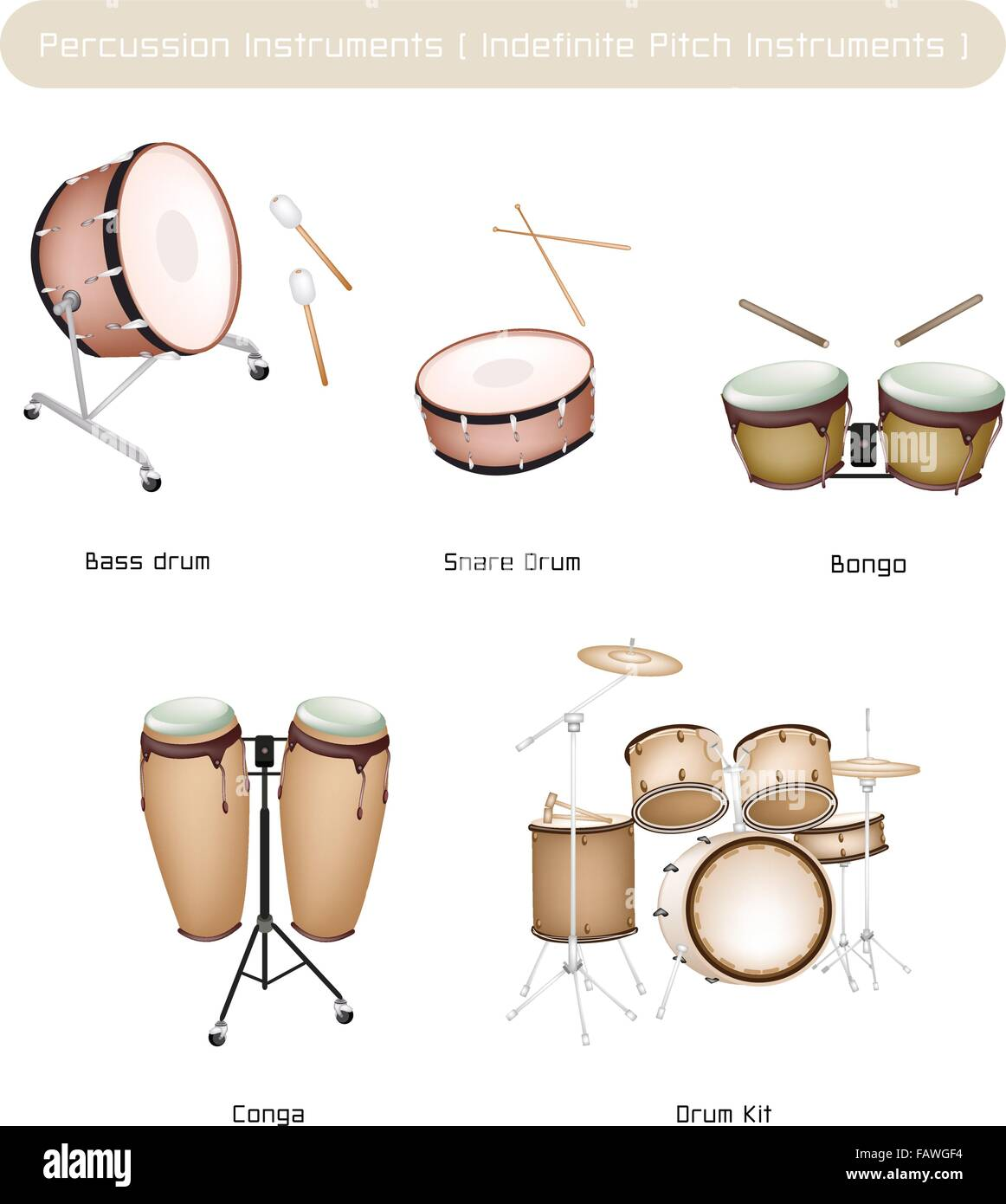 Illustration Brown Color Collection Of Vintage Musical