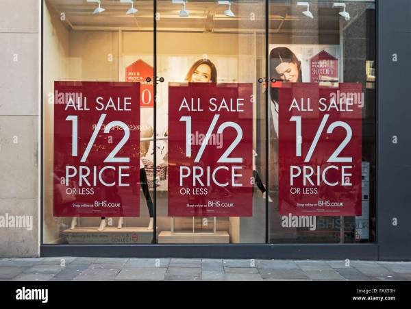 Signs In British Home Stores Window Stock 92773173 - Alamy