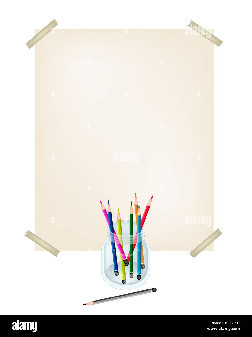 hight resolution of art supply an illustration collection of colorful colored pencil crayons in glass jar with a drawing paper for sketch