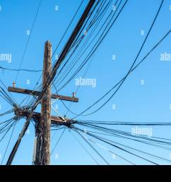 quintessential and untidy solution to power lines in a large north american city stock image [ 1300 x 958 Pixel ]