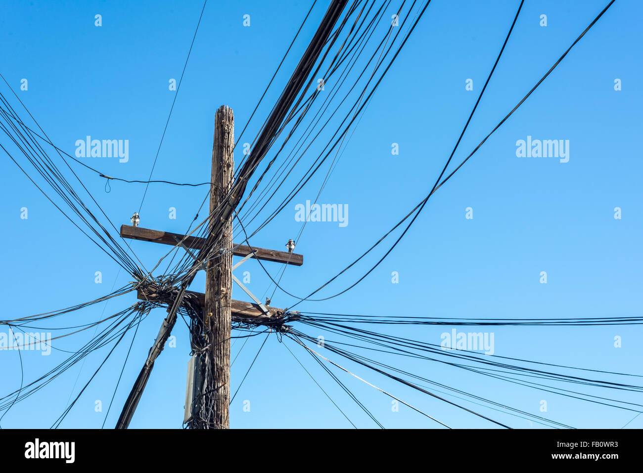 hight resolution of quintessential and untidy solution to power lines in a large north american city stock image