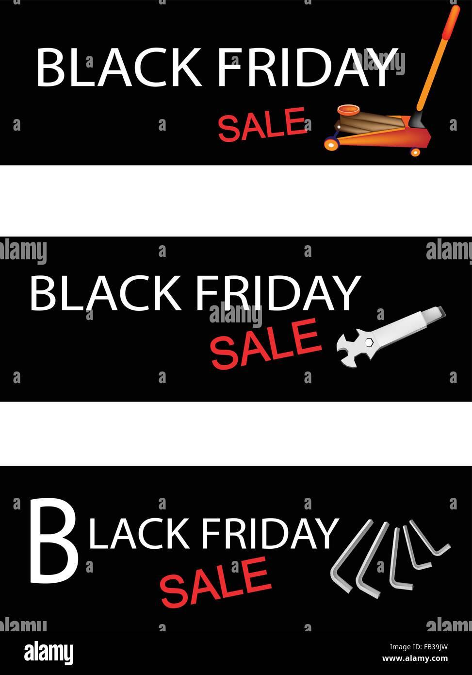 medium resolution of illustration of car jack and repair tools kits on black friday shopping labels for start christmas shopping season