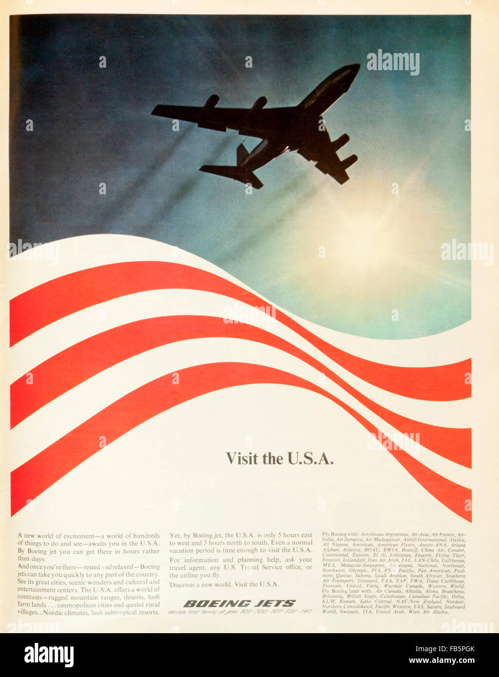 1960s Magazine Advertisement Advertising Visiting America By Boeing Stock Photo Alamy