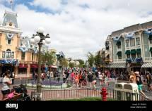 Crowd Of People Walking Main Street Disneyland Resort