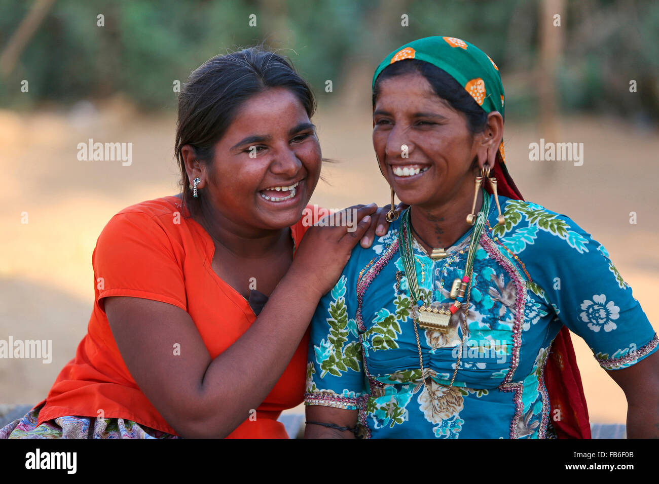 Kacchi Rabari Desi Laharia Village Two Young Women Kutch District