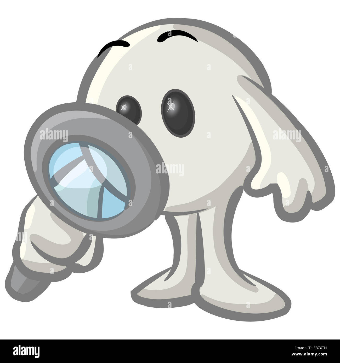 hight resolution of royalty free clipart picture of a white konkee character inspecting with a magnifying glass on a white background