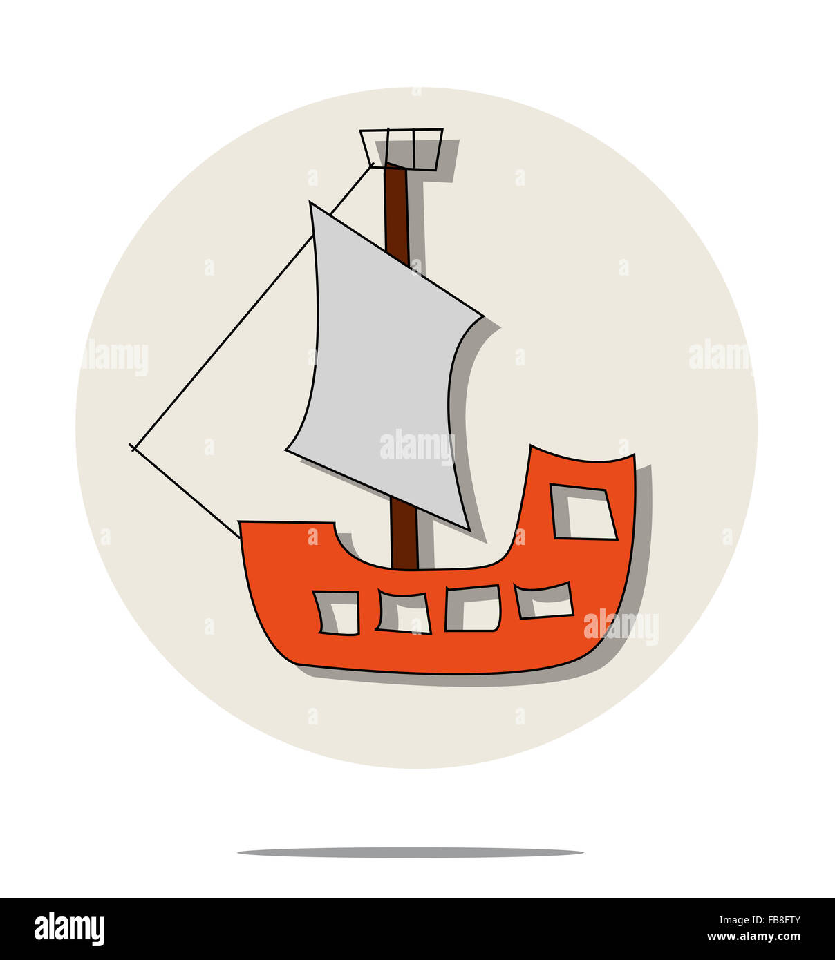 hight resolution of illustration of red pirate ship
