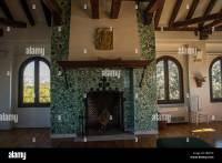 Spanish dining room with fireplace hearth and Spanish ...