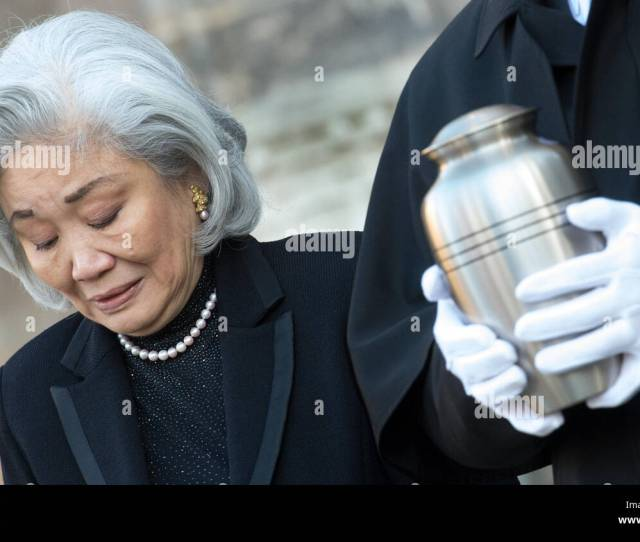 The Widow Of Conductor Kurt Masur Tomoko Sakurai Masur Accompanies Masurs Urn From The St Thomas Church After Funeral Services In Leipzig Germany