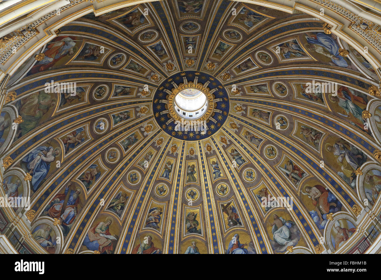 Painted ceiling of dome of St Peter's Basilica, Vatican
