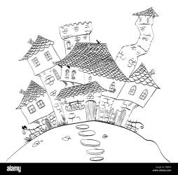 Line hand drawing of fantasy or medieval village Stock Vector Image & Art Alamy
