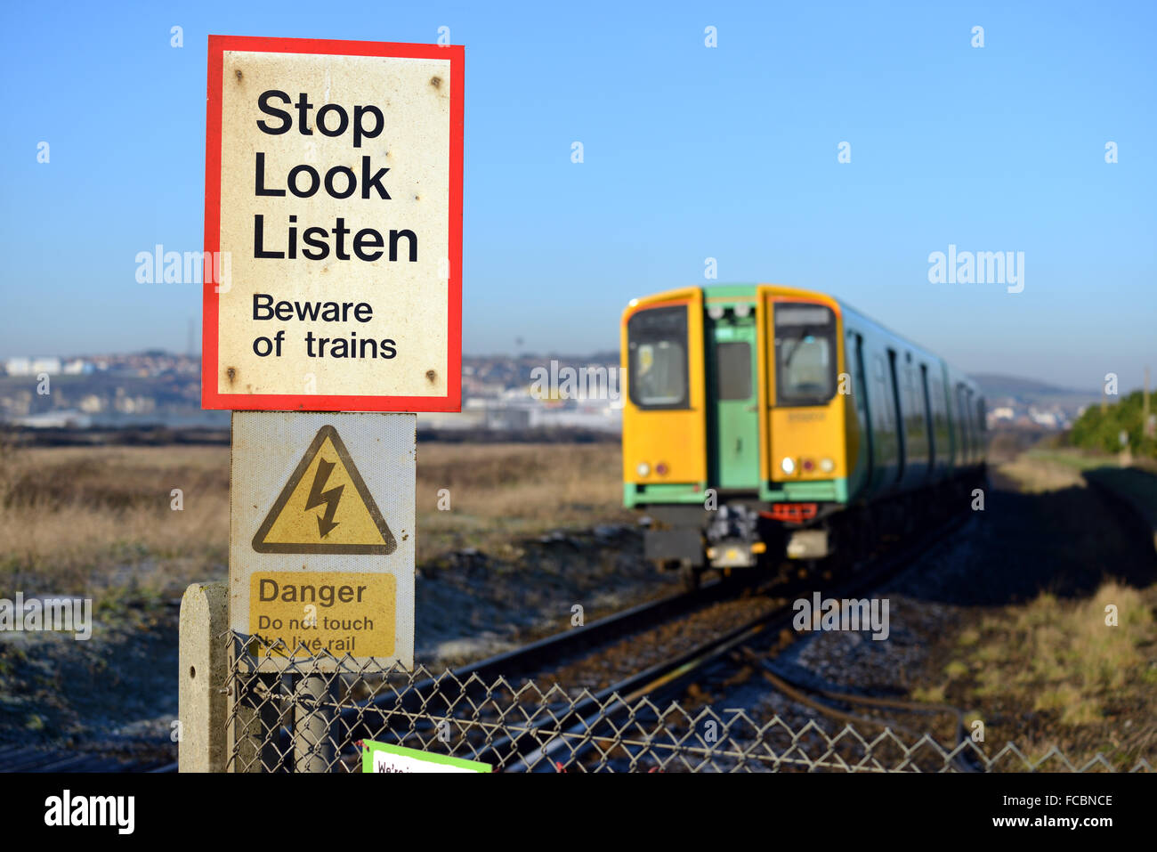 Stop Look Listen Sign On Single Trail Track Uk Stock