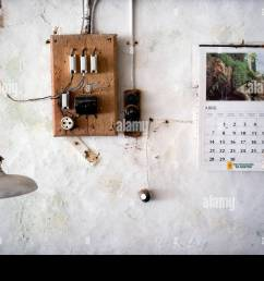 wall of an old workshop with an electrical fuse box and plug a calendar from april 1986 on the wall and a lamp hanging from [ 1300 x 958 Pixel ]