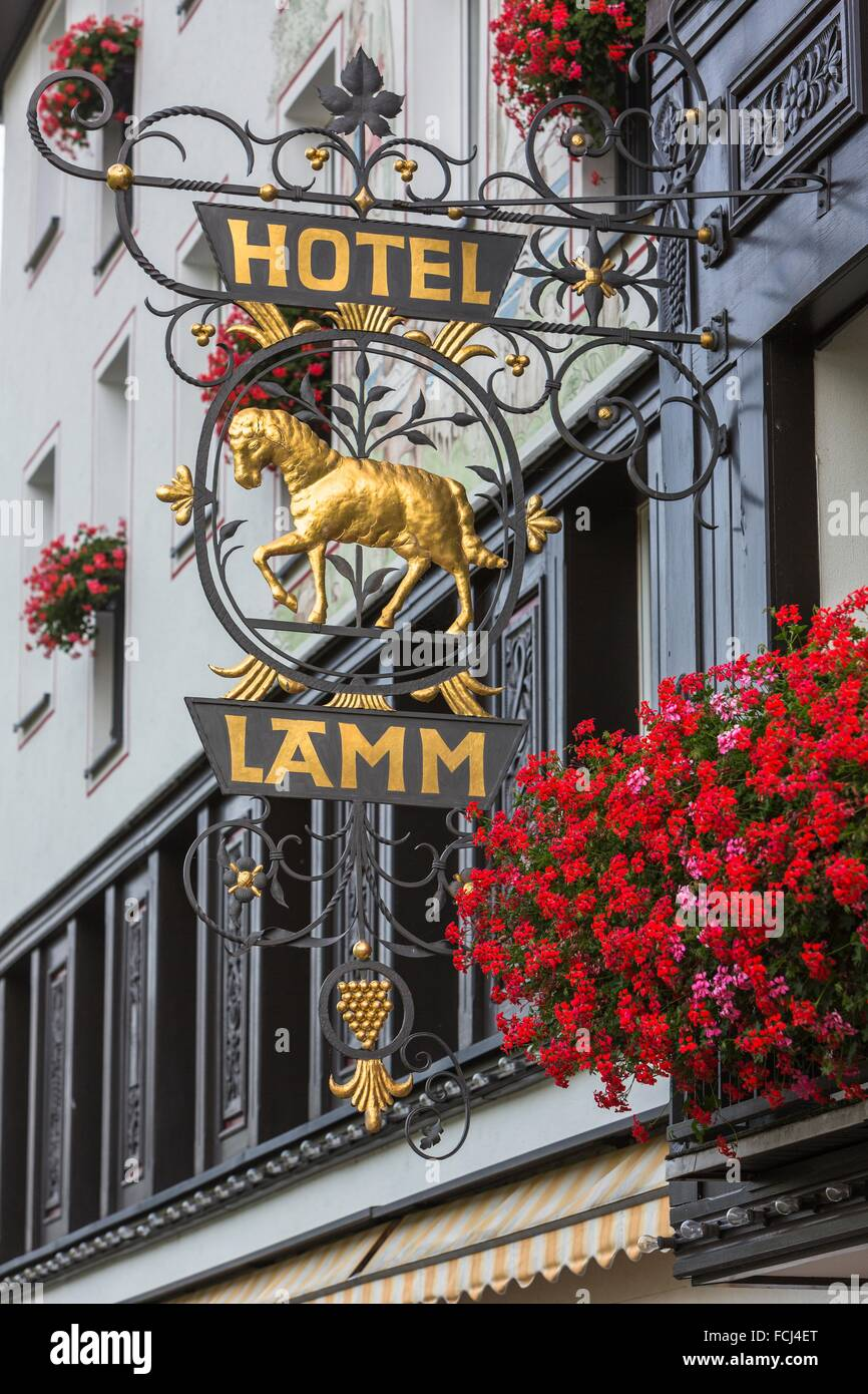Close Up Of An Adorned Sign Of The Hotel Lamm In