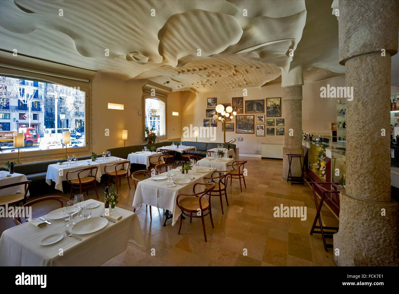 The interior of Caf Pedrera at the ground floor of Casa Mila Stock Photo Royalty Free Image
