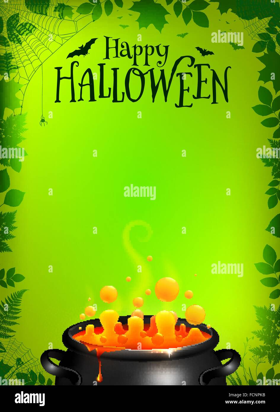 Green Halloween Poster Template With Orange Potion In Black Cauldron