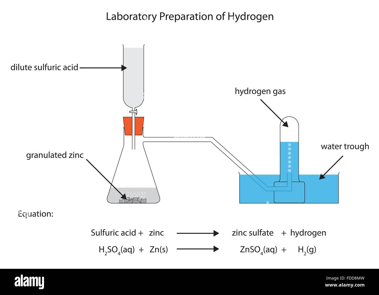 hight resolution of labelled diagram for laboratory preparation of hydrogen from zinc and sulfuric acid