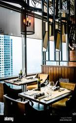 modern contemporary High class fine dining restaurant interior Stock Photo Alamy