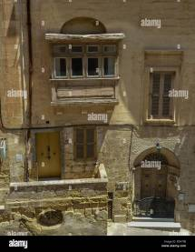 Malta Facade House Maltese Stock &