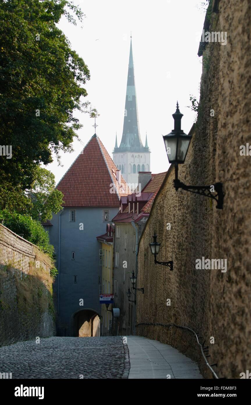 Estonia. Tallinn. Pikk Jalg (Long Leg). road leading down from Stock Photo. Royalty Free Image: 94490455 - Alamy