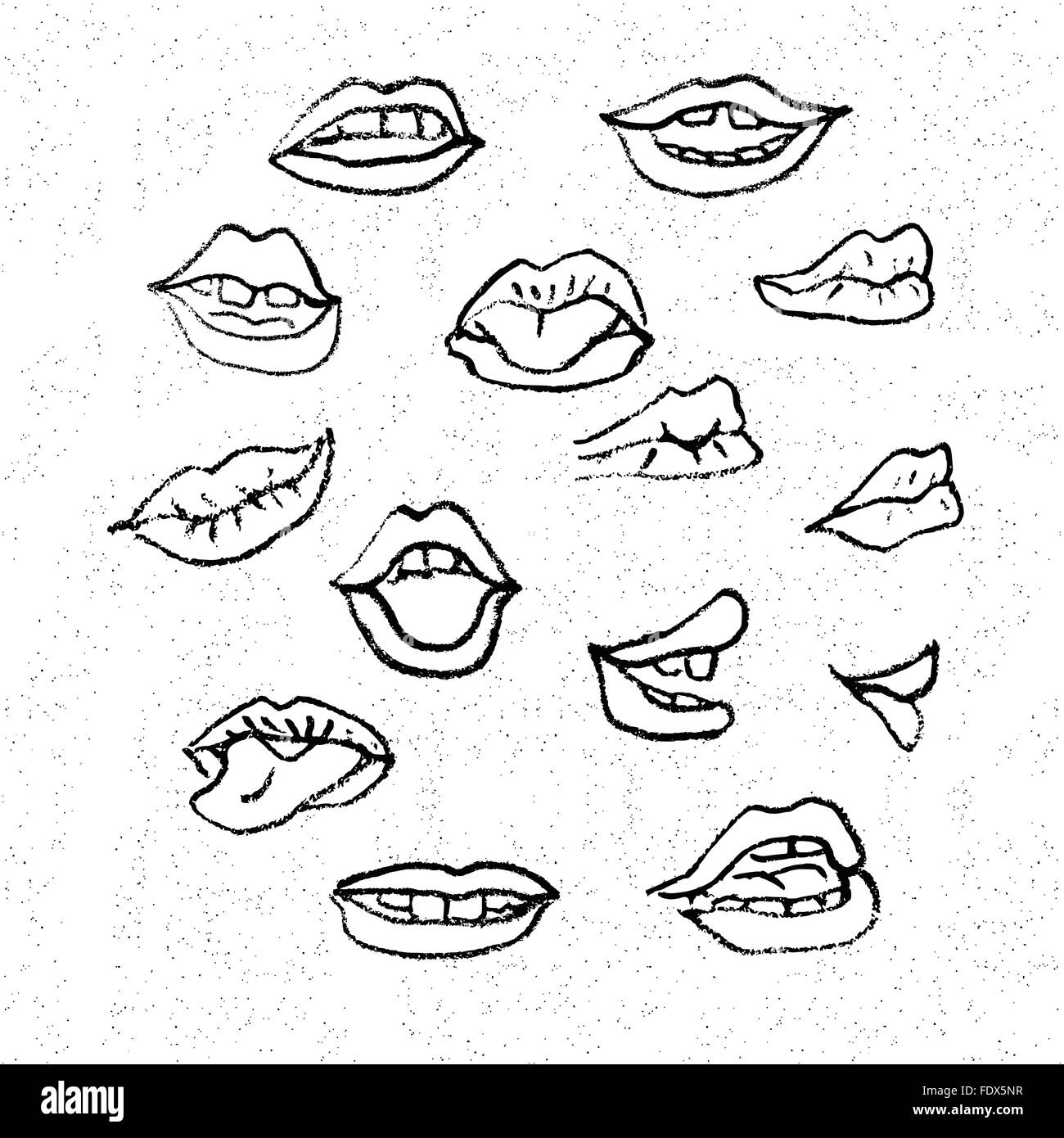 Lips Set Attractive Human Mouths Cartoon Mouth Icons
