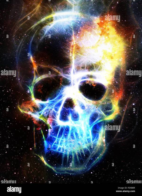 Skull And Fractal Effect. Color Space Background Computer